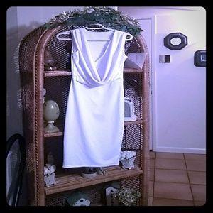 Dresses & Skirts - Sexy white cowl neck bodycon